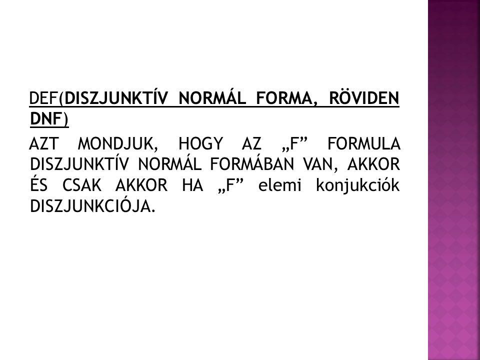 DEF(DISZJUNKTÍV NORMÁL FORMA, RÖVIDEN DNF)