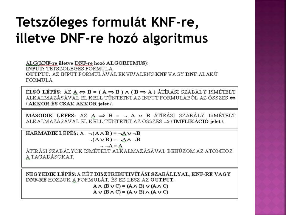 Tetszőleges formulát KNF-re, illetve DNF-re hozó algoritmus