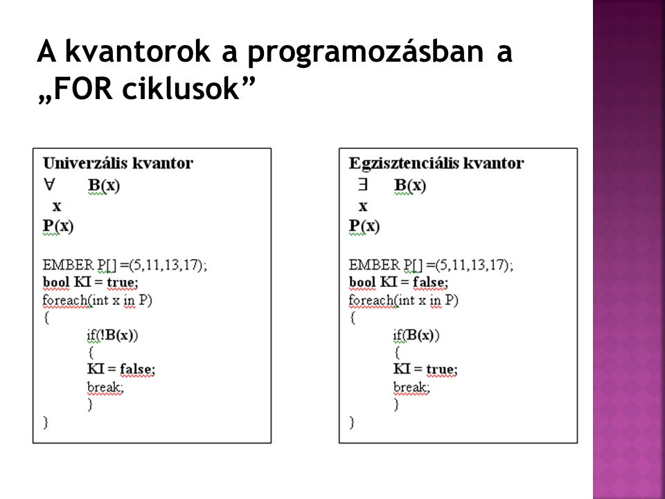 """A kvantorok a programozásban a """"FOR ciklusok"""