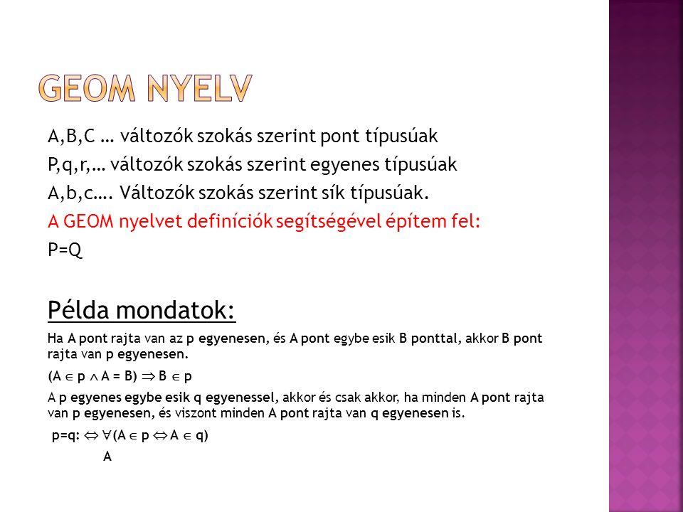Geom nyelv Példa mondatok: