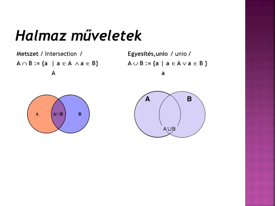 Halmaz műveletek Metszet / Intersection / A  B := {a | a  A  a  B}