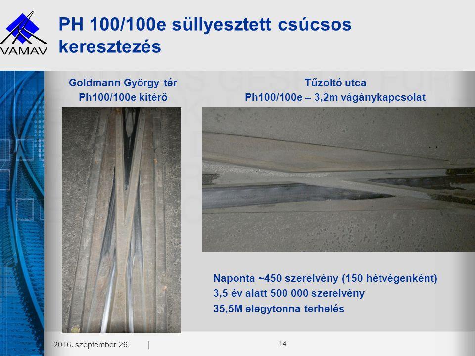 PH 100/100e süllyesztett csúcsos keresztezés