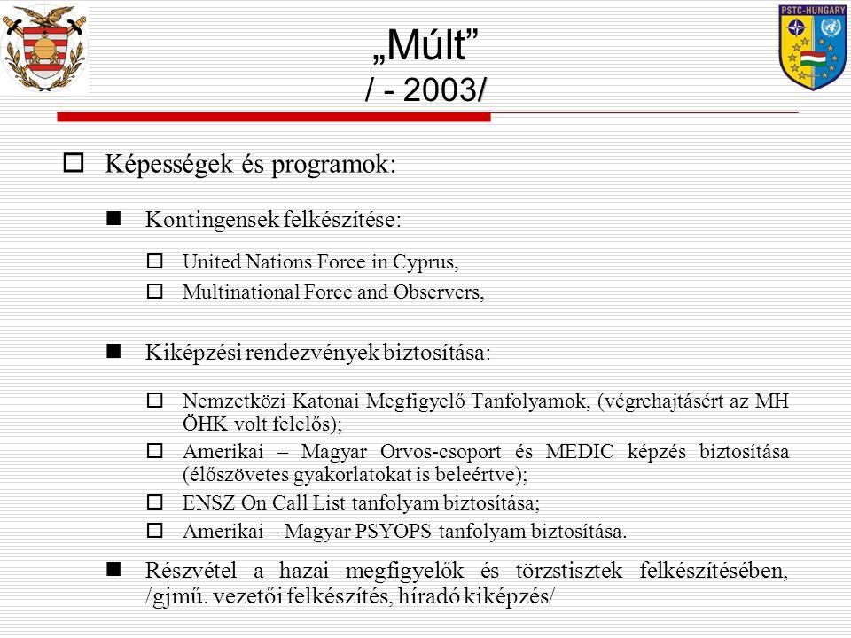 """""""Múlt / - 2003/ Képességek és programok: Kontingensek felkészítése:"""