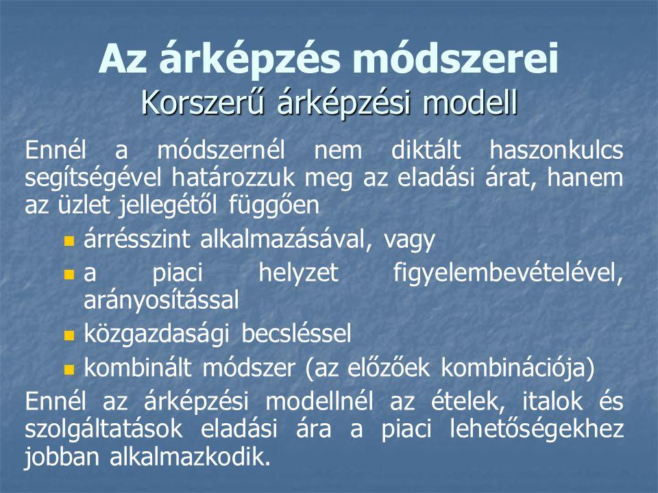 Az árképzés módszerei Korszerű árképzési modell
