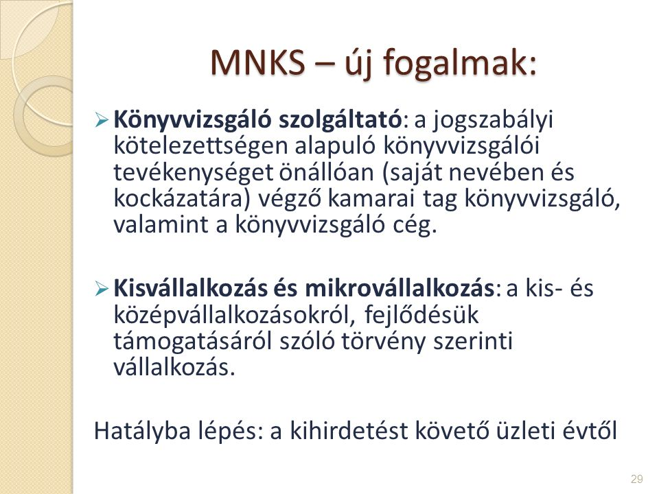 MNKS – új fogalmak: