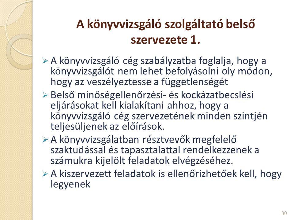 A könyvvizsgáló szolgáltató belső szervezete 1.