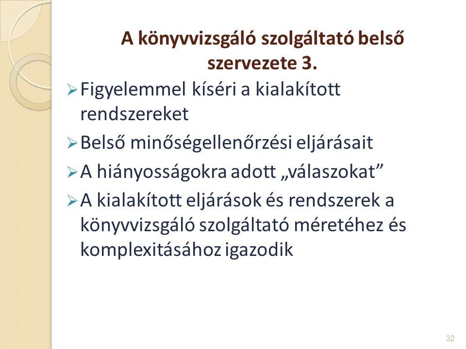 A könyvvizsgáló szolgáltató belső szervezete 3.