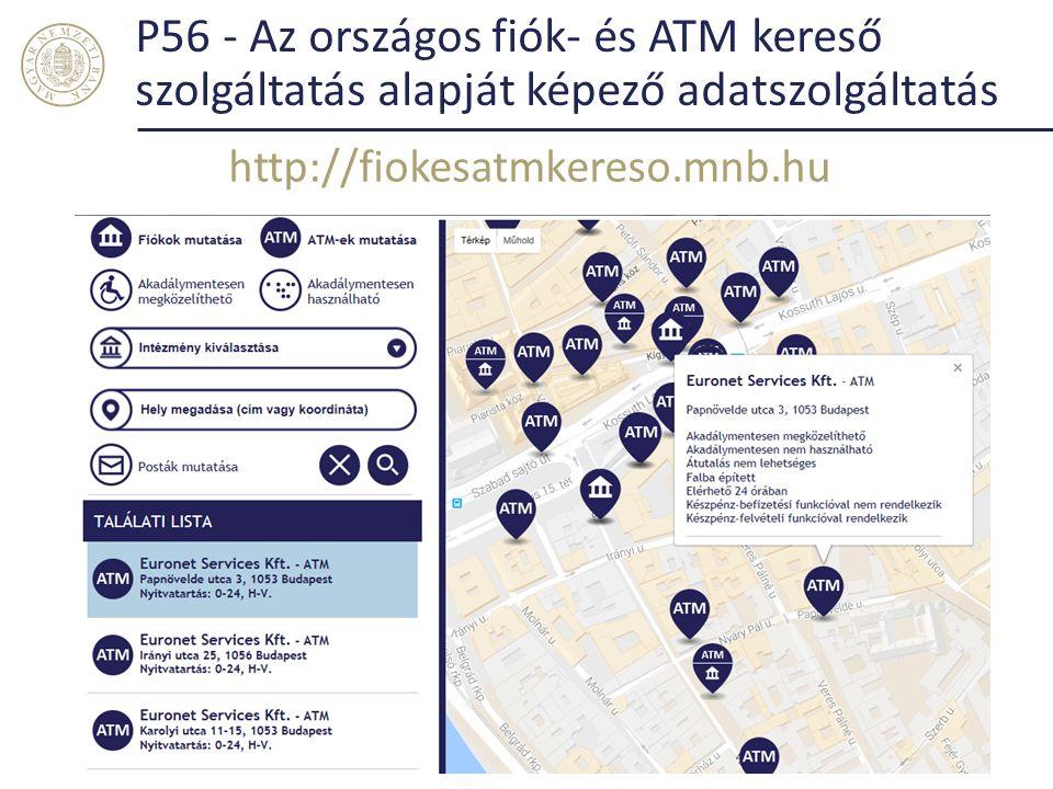 P56 - Az országos fiók- és ATM kereső szolgáltatás alapját képező adatszolgáltatás