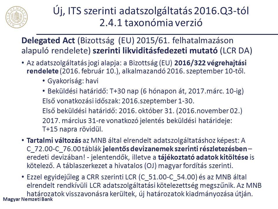 Új, ITS szerinti adatszolgáltatás 2016.Q3-tól 2.4.1 taxonómia verzió