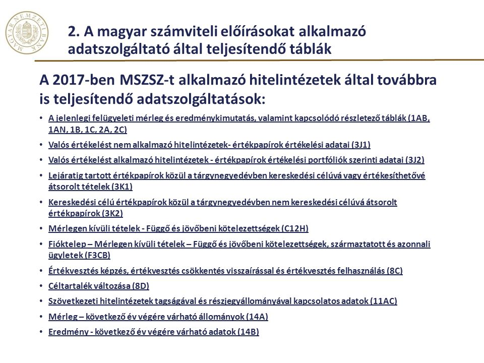 2. A magyar számviteli előírásokat alkalmazó adatszolgáltató által teljesítendő táblák