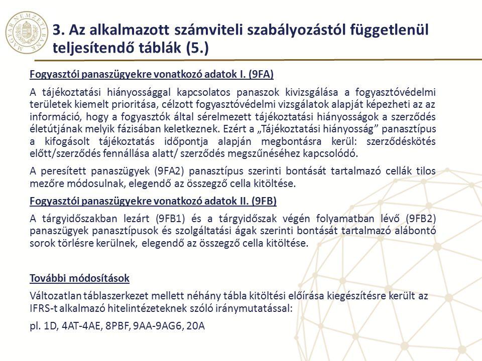 3. Az alkalmazott számviteli szabályozástól függetlenül teljesítendő táblák (5.)