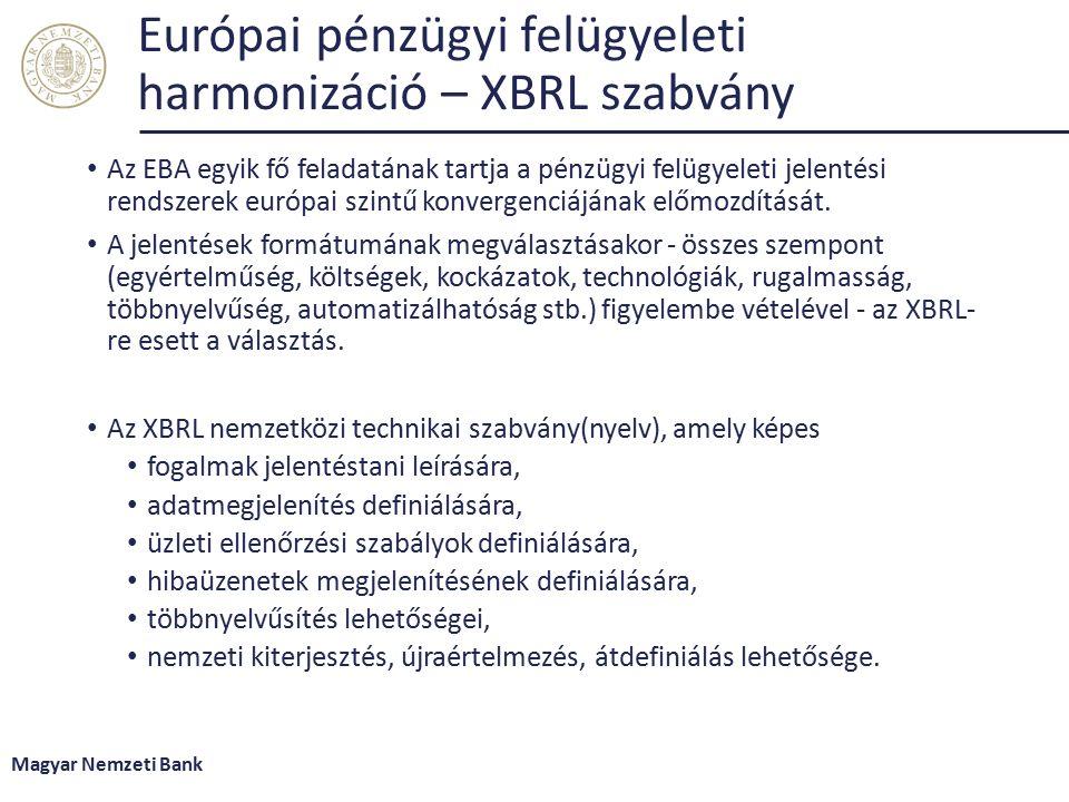 Európai pénzügyi felügyeleti harmonizáció – XBRL szabvány