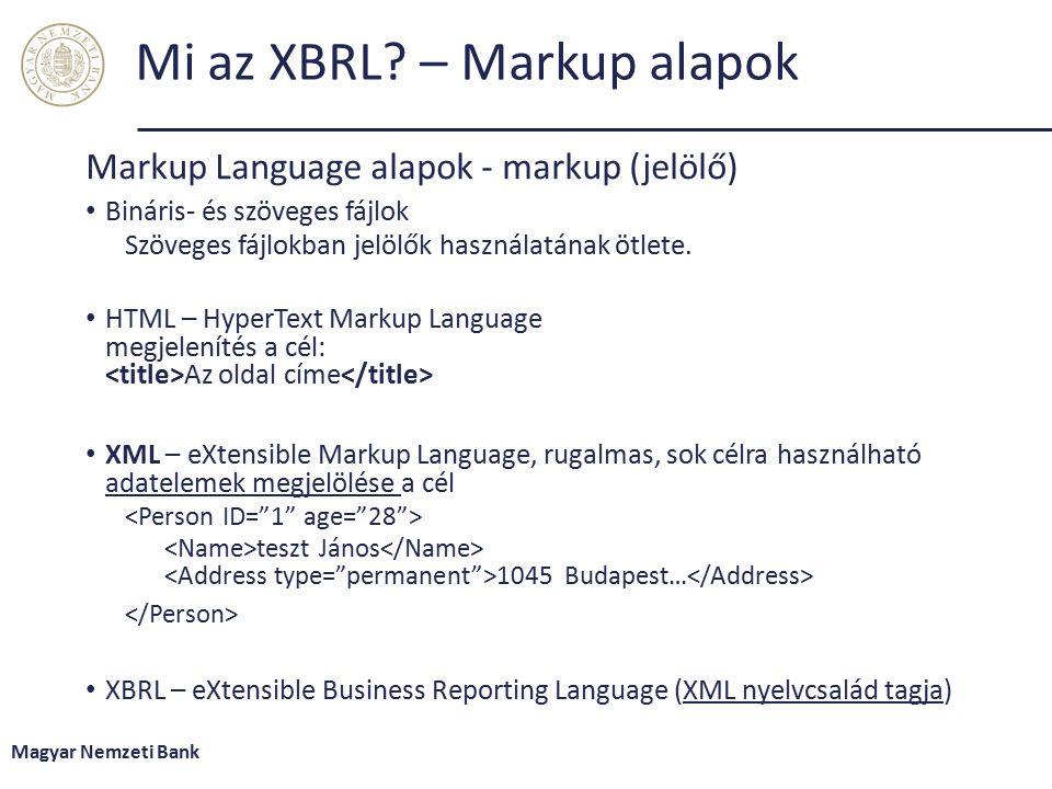 Mi az XBRL – Markup alapok