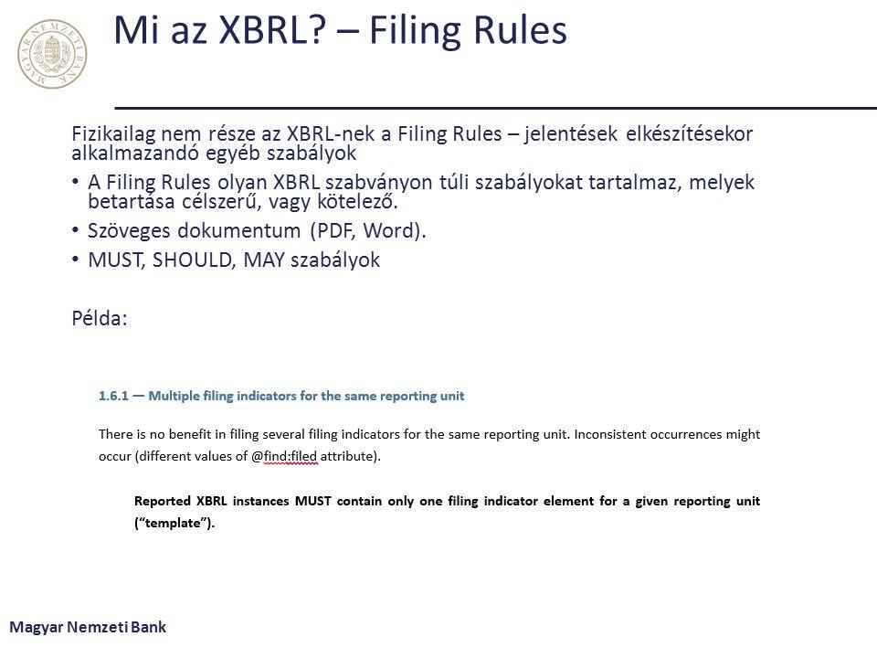 Mi az XBRL – Filing Rules