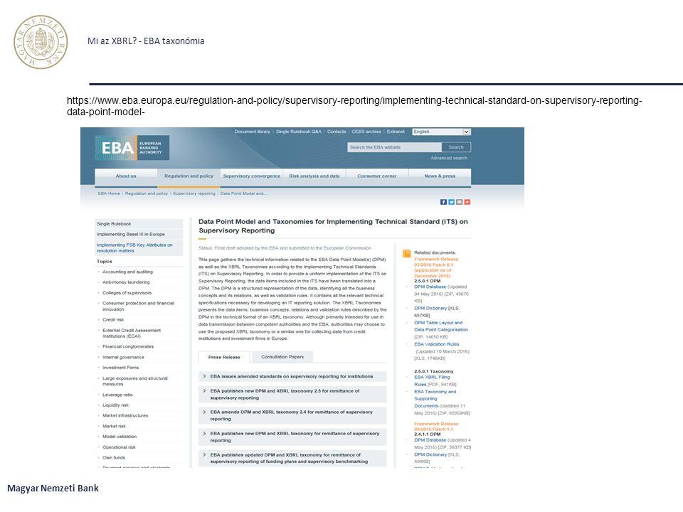 Mi az XBRL - EBA taxonómia