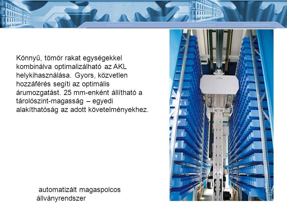 Könnyű, tömör rakat egységekkel kombinálva optimalizálható az AKL helykihasználása. Gyors, közvetlen hozzáférés segíti az optimális árumozgatást. 25 mm-enként állítható a tárolószint-magasság – egyedi alakíthatóság az adott követelményekhez.