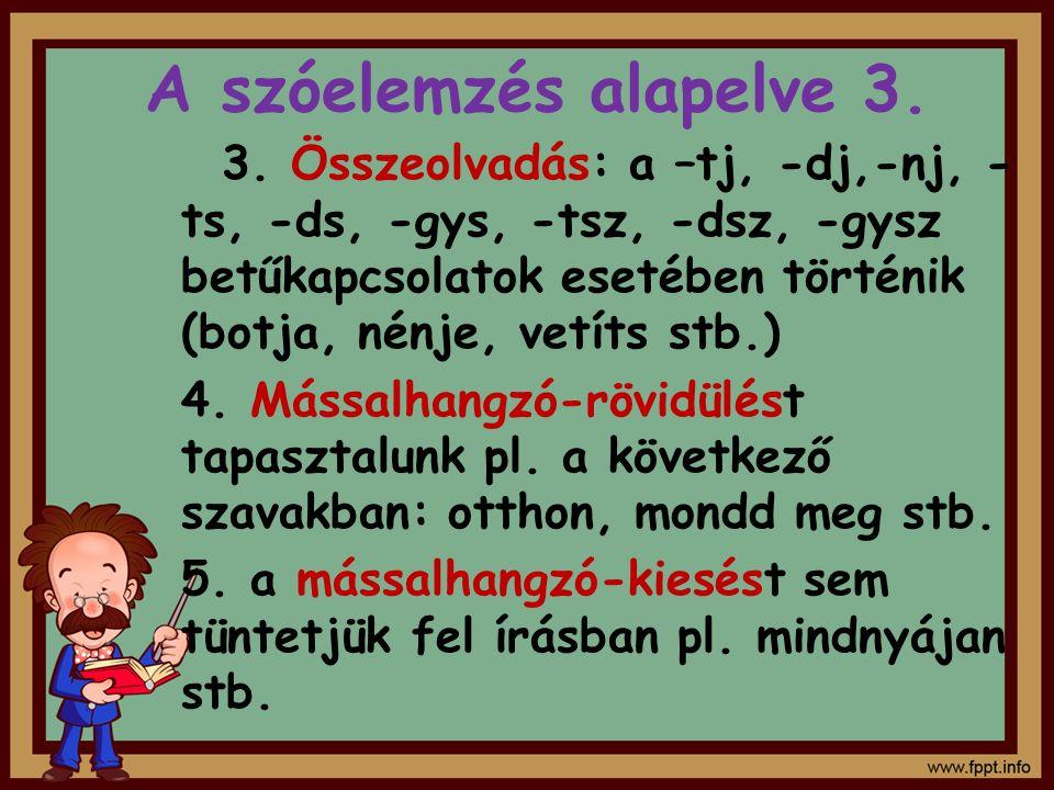 A szóelemzés alapelve 3.