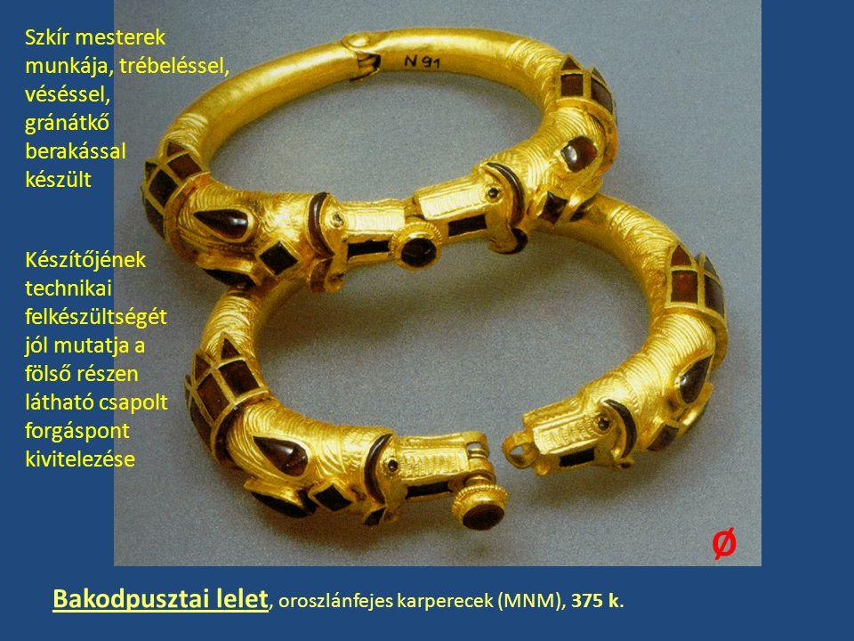 Ø Bakodpusztai lelet, oroszlánfejes karperecek (MNM), 375 k.