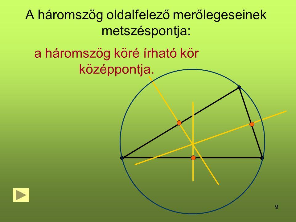 A háromszög oldalfelező merőlegeseinek metszéspontja: