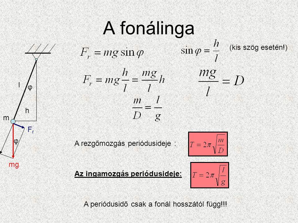 A fonálinga (kis szög esetén!) l φ h m Fr φ