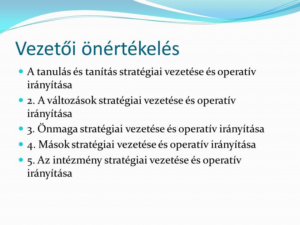 Vezetői önértékelés A tanulás és tanítás stratégiai vezetése és operatív irányítása. 2. A változások stratégiai vezetése és operatív irányítása.