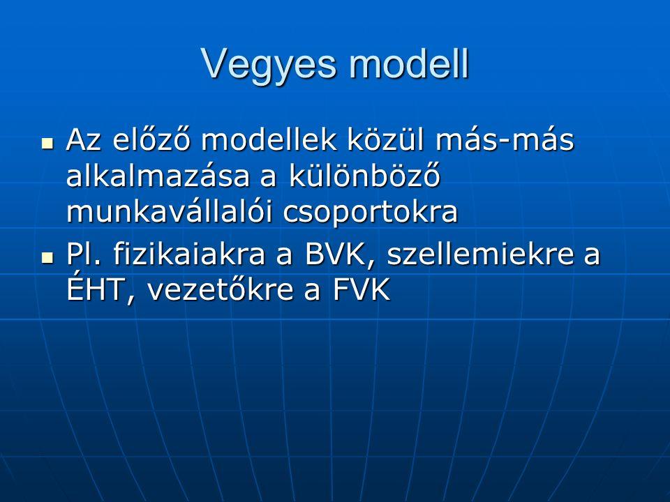 Vegyes modell Az előző modellek közül más-más alkalmazása a különböző munkavállalói csoportokra.