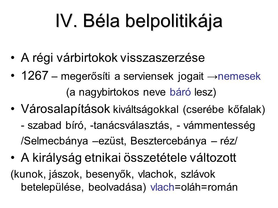 IV. Béla belpolitikája A régi várbirtokok visszaszerzése