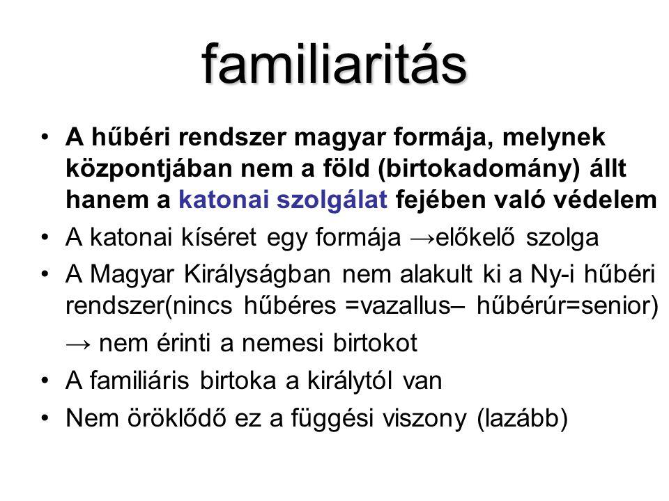 familiaritás A hűbéri rendszer magyar formája, melynek központjában nem a föld (birtokadomány) állt hanem a katonai szolgálat fejében való védelem.