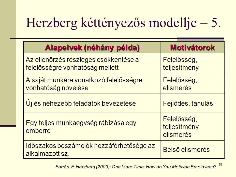 Herzberg kéttényezős modellje – 5.