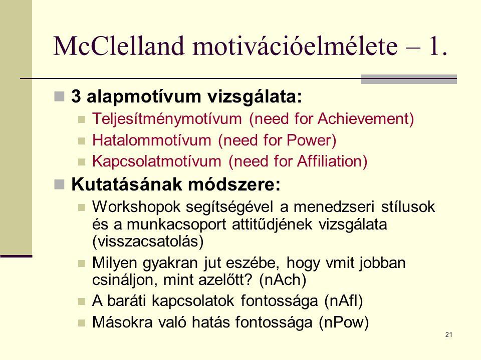 McClelland motivációelmélete – 1.