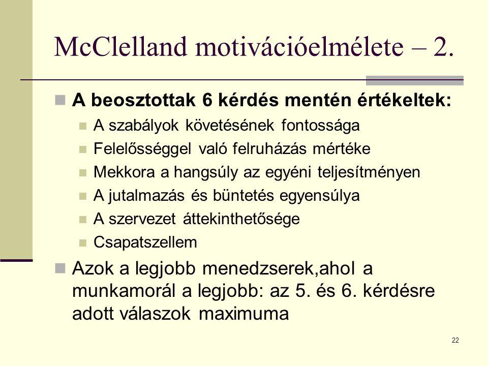 McClelland motivációelmélete – 2.