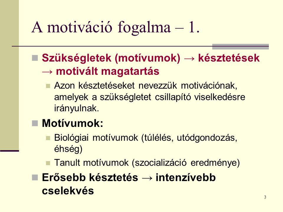 A motiváció fogalma – 1. Szükségletek (motívumok) → késztetések → motivált magatartás.