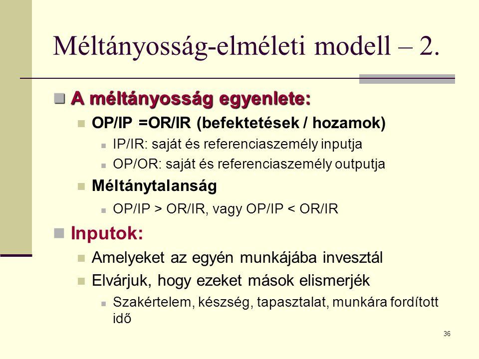 Méltányosság-elméleti modell – 2.