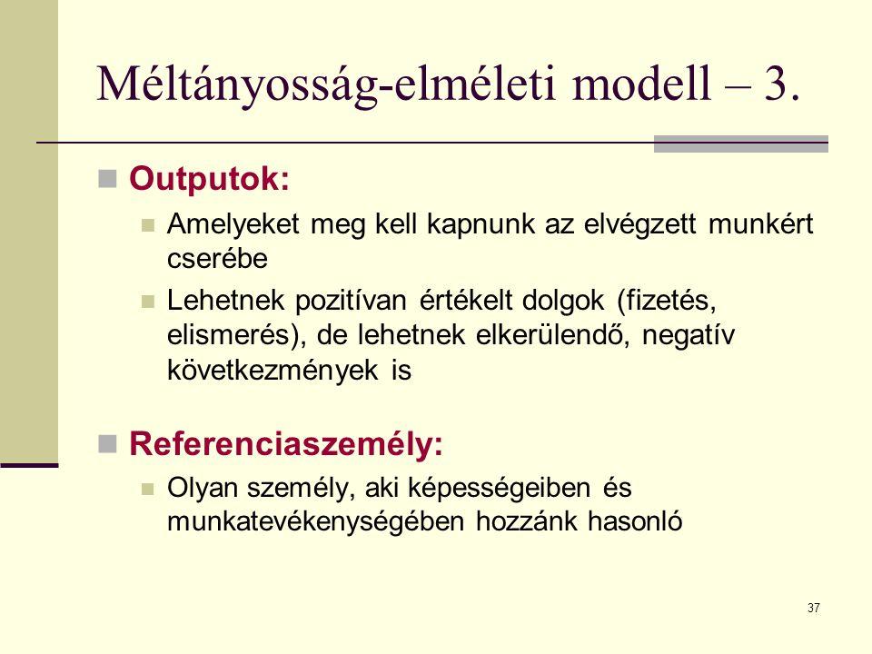 Méltányosság-elméleti modell – 3.