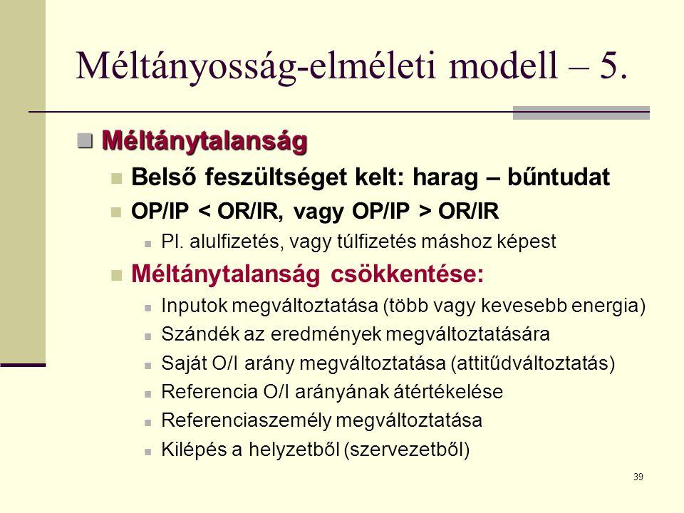 Méltányosság-elméleti modell – 5.