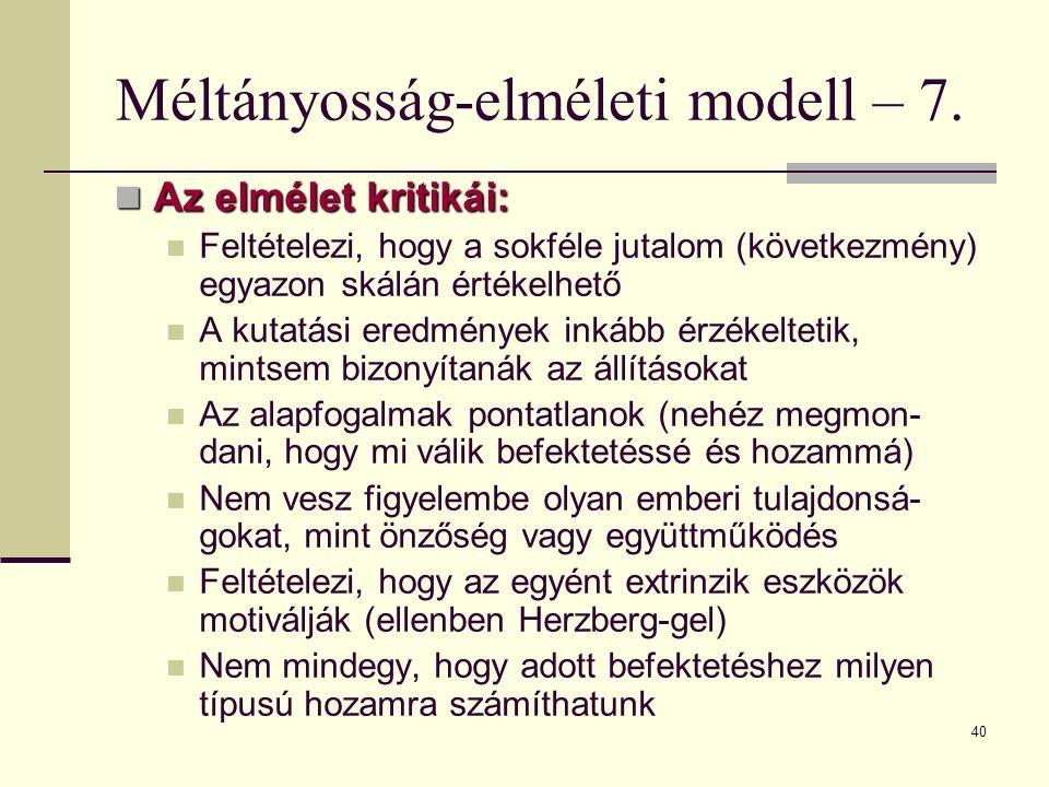 Méltányosság-elméleti modell – 7.