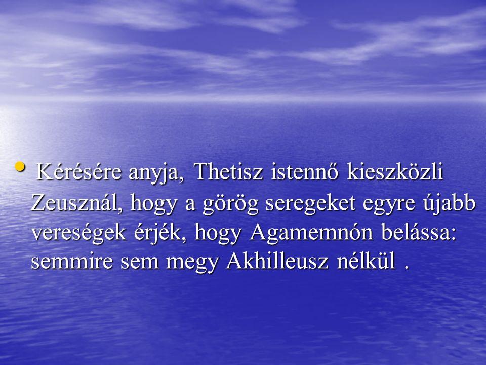 Kérésére anyja, Thetisz istennő kieszközli Zeusznál, hogy a görög seregeket egyre újabb vereségek érjék, hogy Agamemnón belássa: semmire sem megy Akhilleusz nélkül .