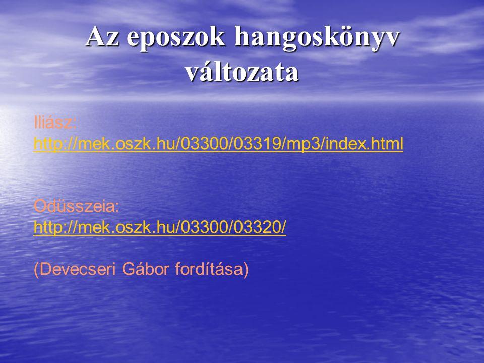 Az eposzok hangoskönyv változata