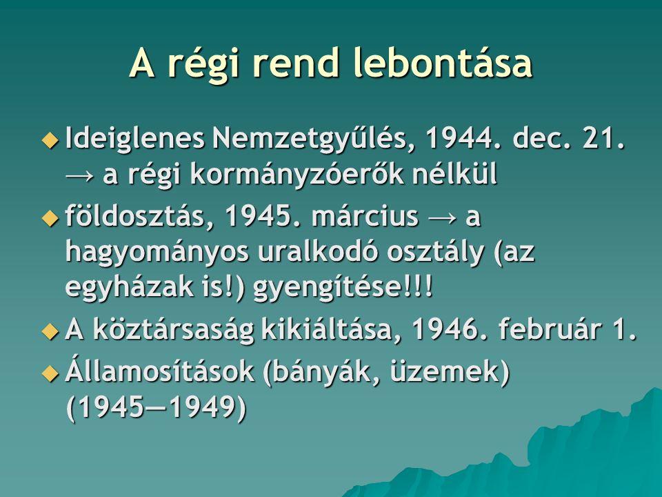 A régi rend lebontása Ideiglenes Nemzetgyűlés, 1944. dec. 21. → a régi kormányzóerők nélkül.