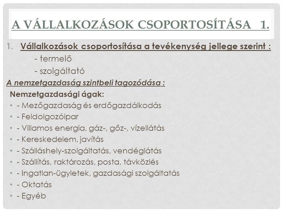 A VÁLLALKOZÁSOK CSOPORTOSÍTÁSA 1.
