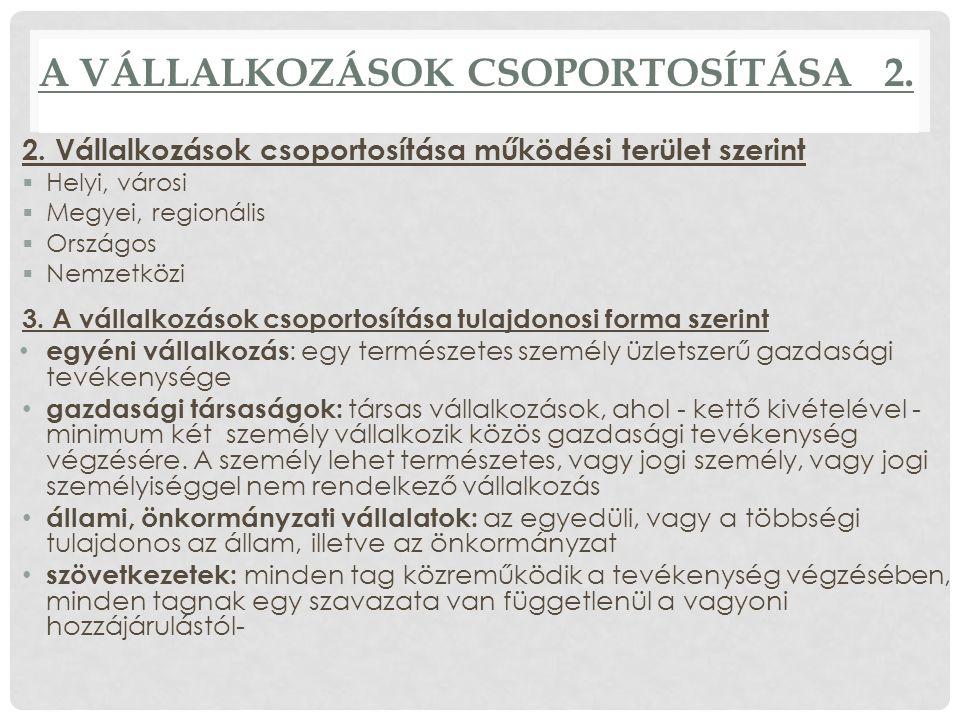 A VÁLLALKOZÁSOK CSOPORTOSÍTÁSA 2.