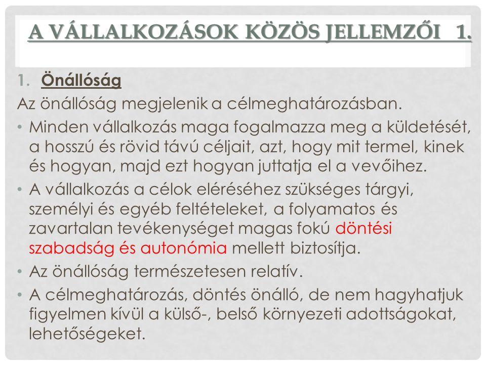 A VÁLLALKOZÁSOK KÖZÖS JELLEMZŐI 1.