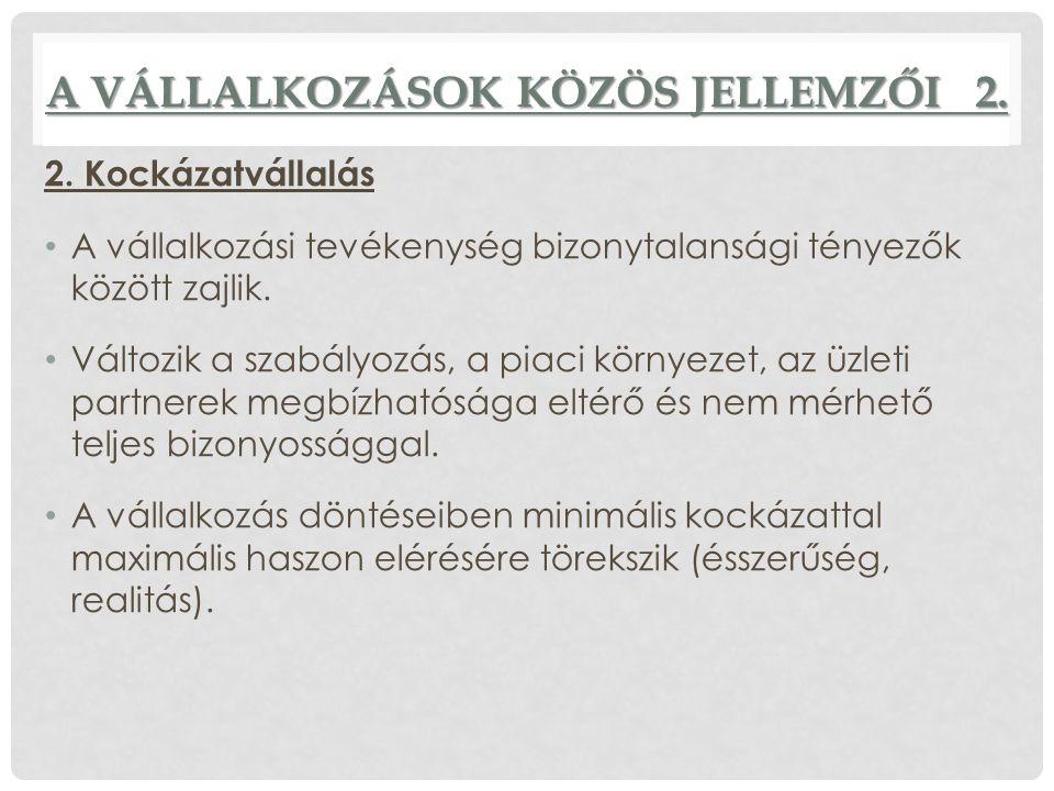 A VÁLLALKOZÁSOK KÖZÖS JELLEMZŐI 2.