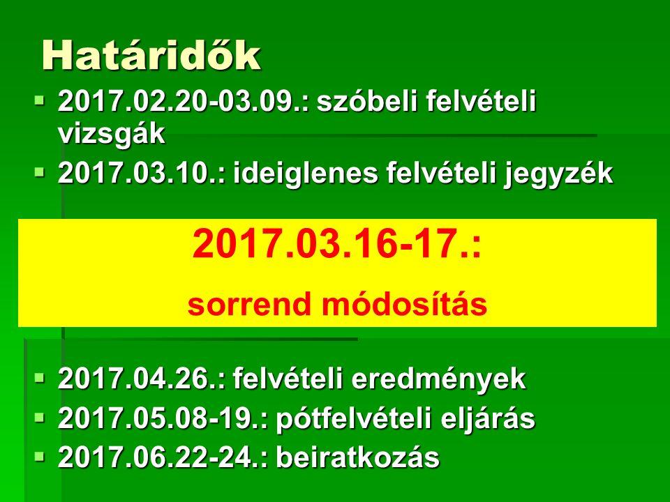 Határidők 2017.03.16-17.: sorrend módosítás