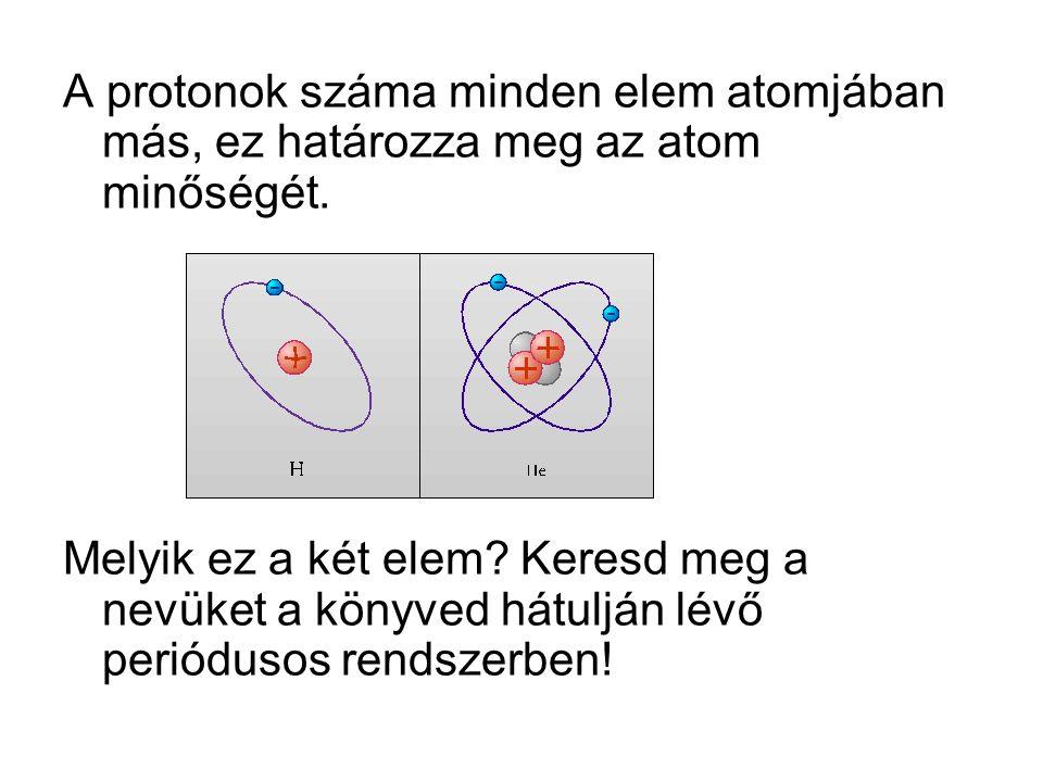 A protonok száma minden elem atomjában más, ez határozza meg az atom minőségét.