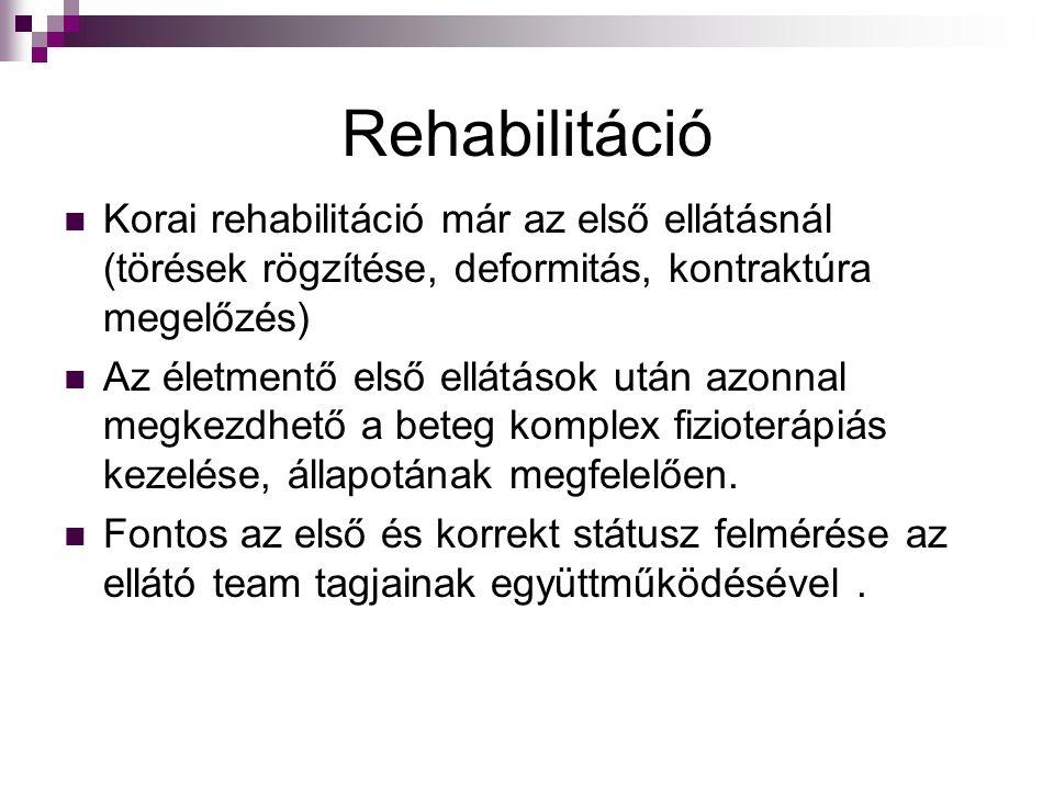 Rehabilitáció Korai rehabilitáció már az első ellátásnál (törések rögzítése, deformitás, kontraktúra megelőzés)