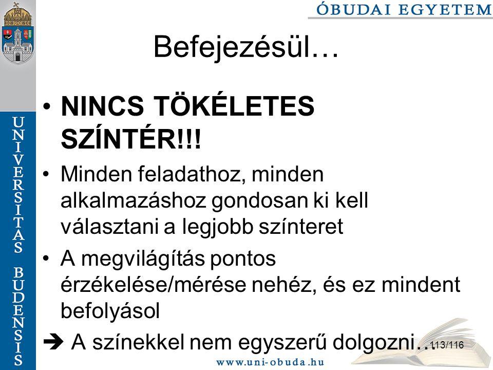 Befejezésül… NINCS TÖKÉLETES SZÍNTÉR!!!