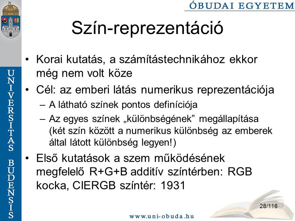Szín-reprezentáció Korai kutatás, a számítástechnikához ekkor még nem volt köze. Cél: az emberi látás numerikus reprezentációja.