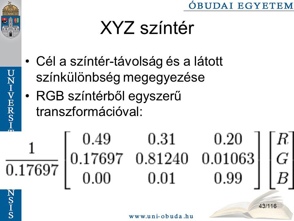 XYZ színtér Cél a színtér-távolság és a látott színkülönbség megegyezése.