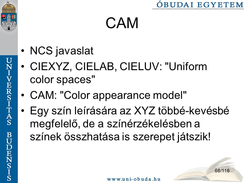 CAM NCS javaslat CIEXYZ, CIELAB, CIELUV: Uniform color spaces
